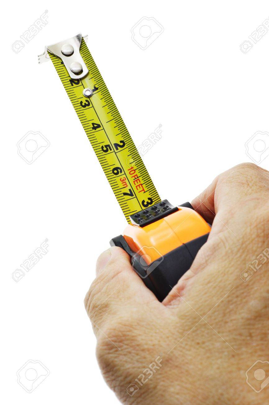 Hand holding measuring tape on white background Stock Photo - 10388466
