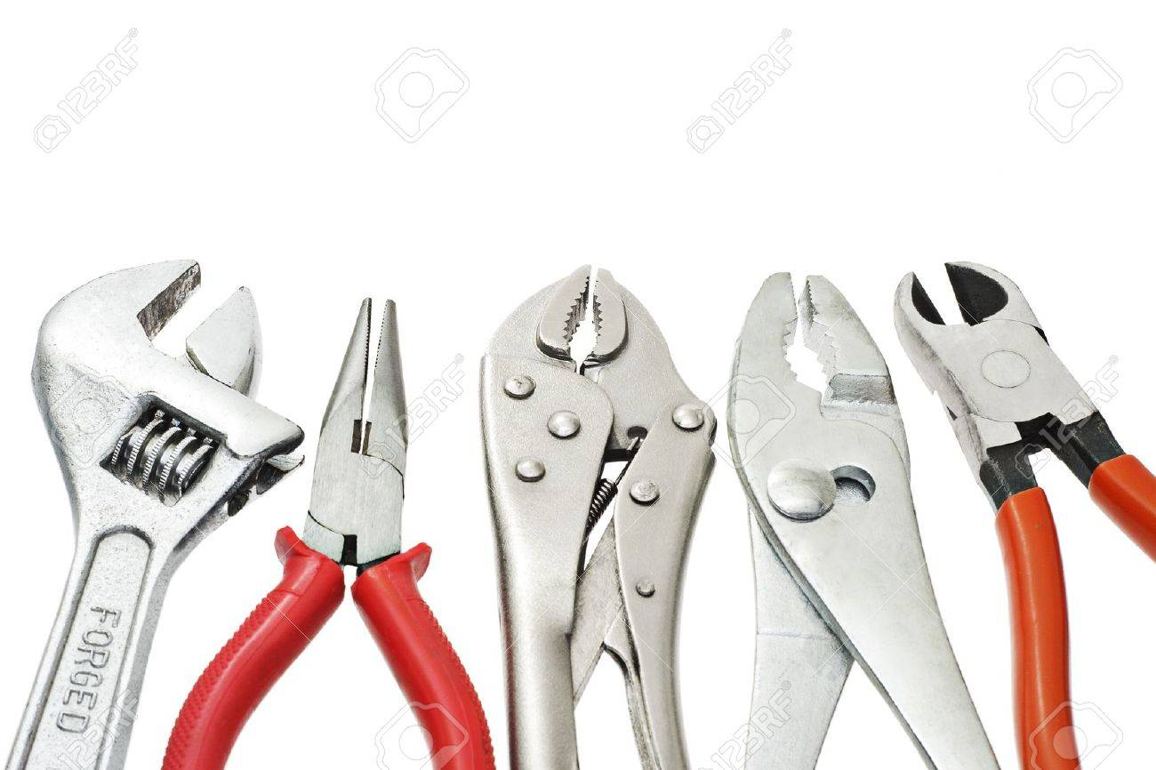 do it yourself tools arranged on white background stock photo