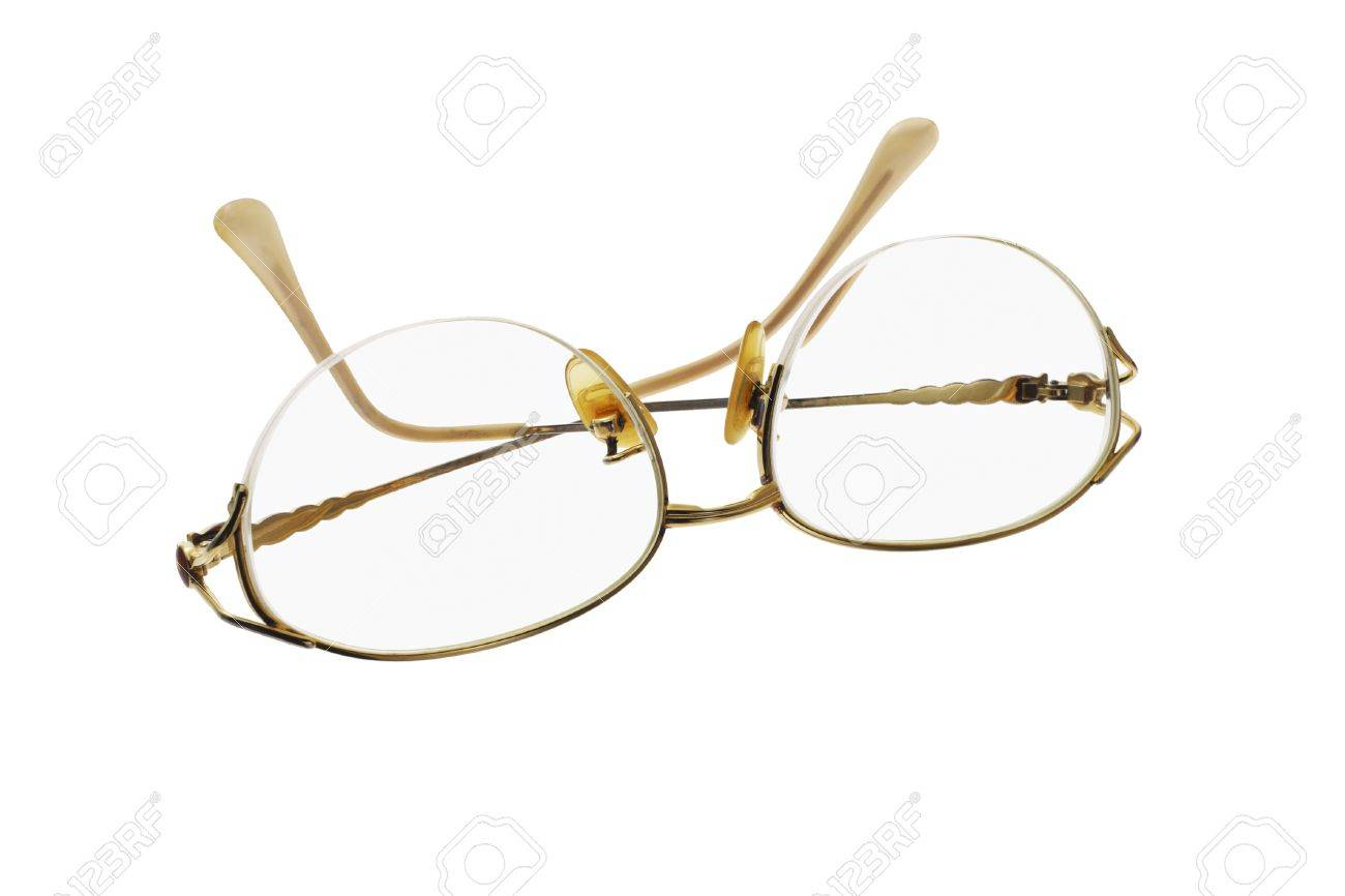 Metal Frame Feminine Eye Glasses On White Background Stock Photo ...