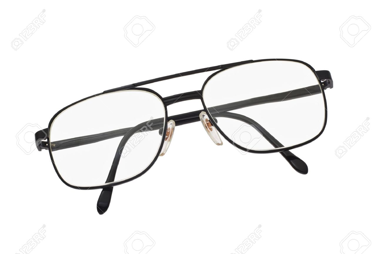 Old Fashion Metal Frame Spectacles On White Background Stock Photo ...