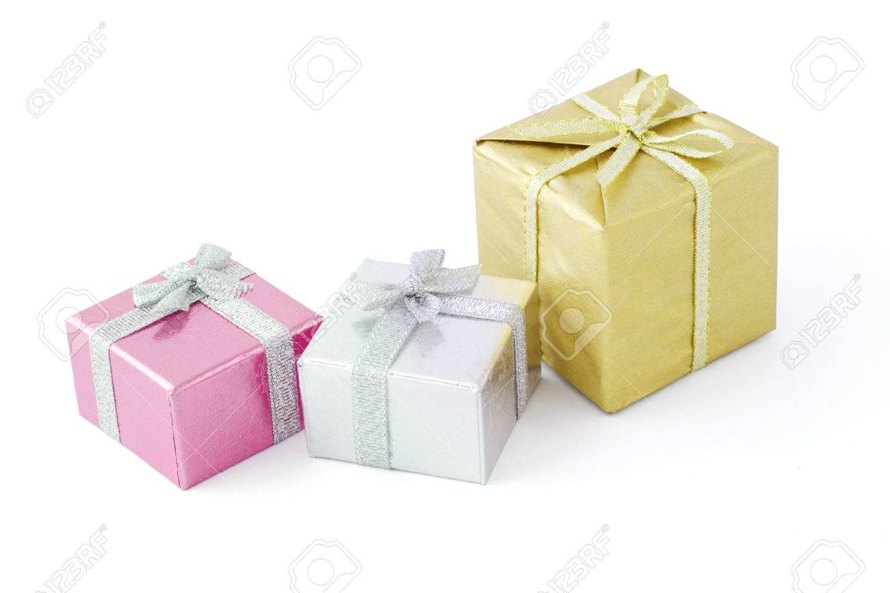 Three gift boxes decorated with bow ribbons Stock Photo - 10412125