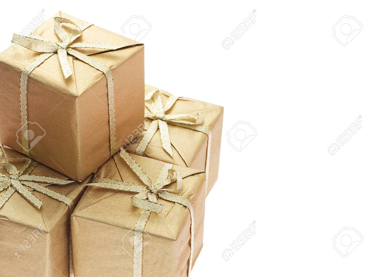 Gift boxes with bow ribbons and copy space on white background - 10412180