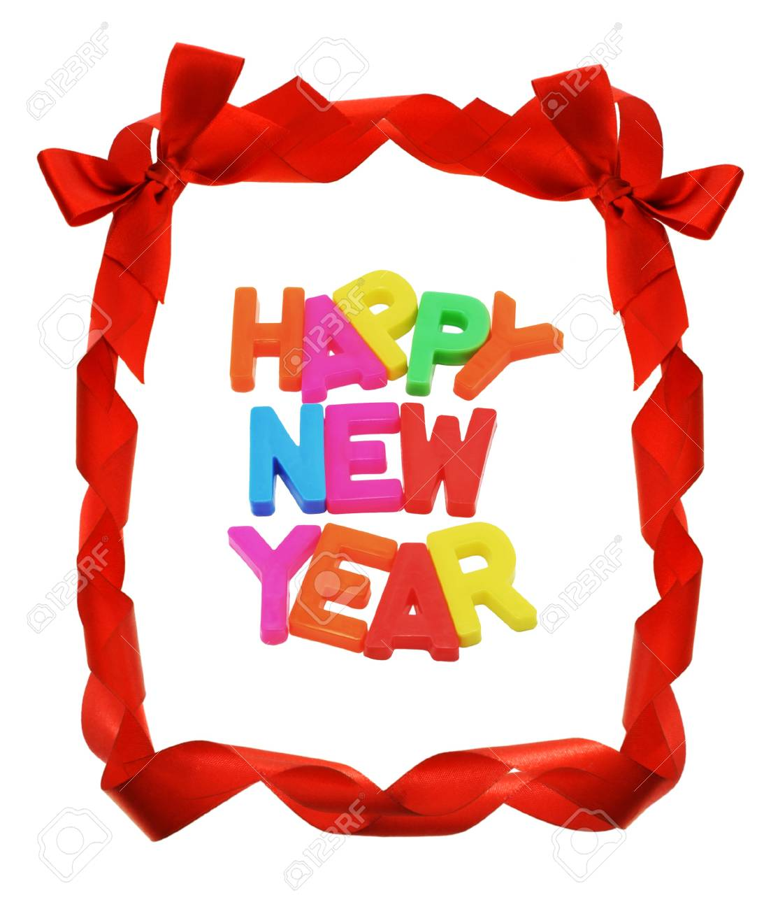 happy new year in red bow ribbons border stock photo 10457424