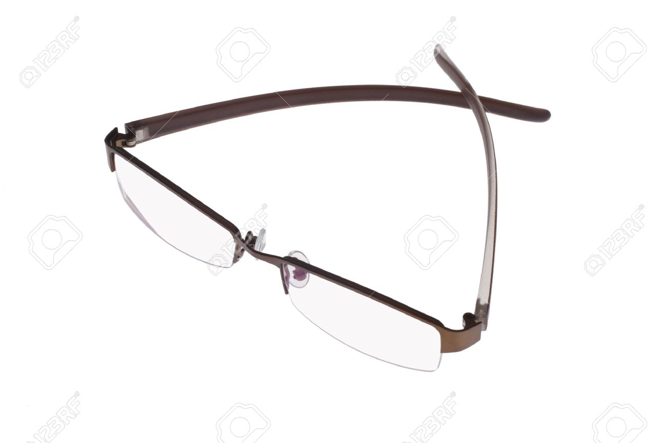 Top view of fashionable spectacles isolated on white background - 10457348