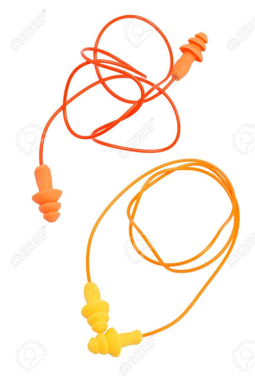 Two pairs of  rubber earplugs on white background Stock Photo - 10641180