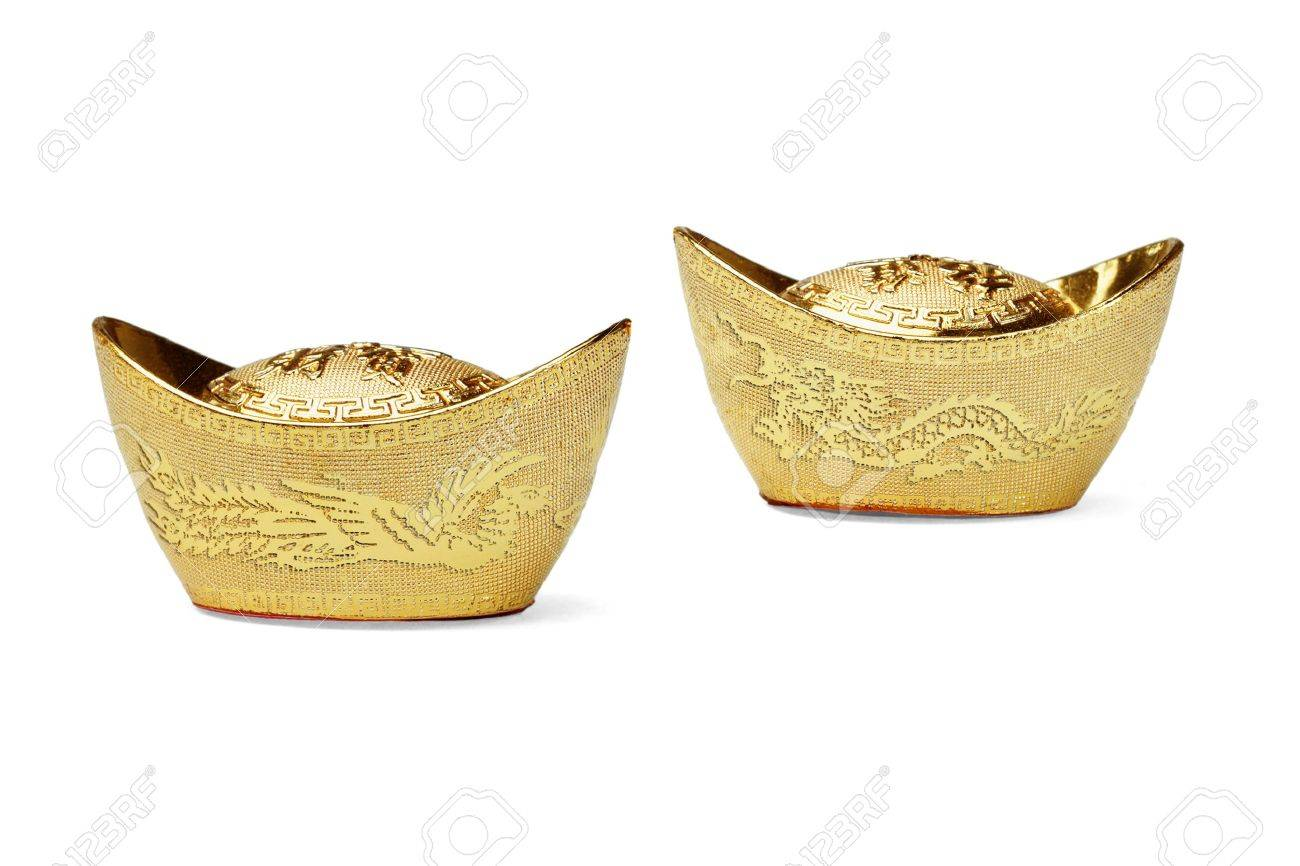 Chinese new year dragon and phoenix gold ingot ornaments on white background - 10641213