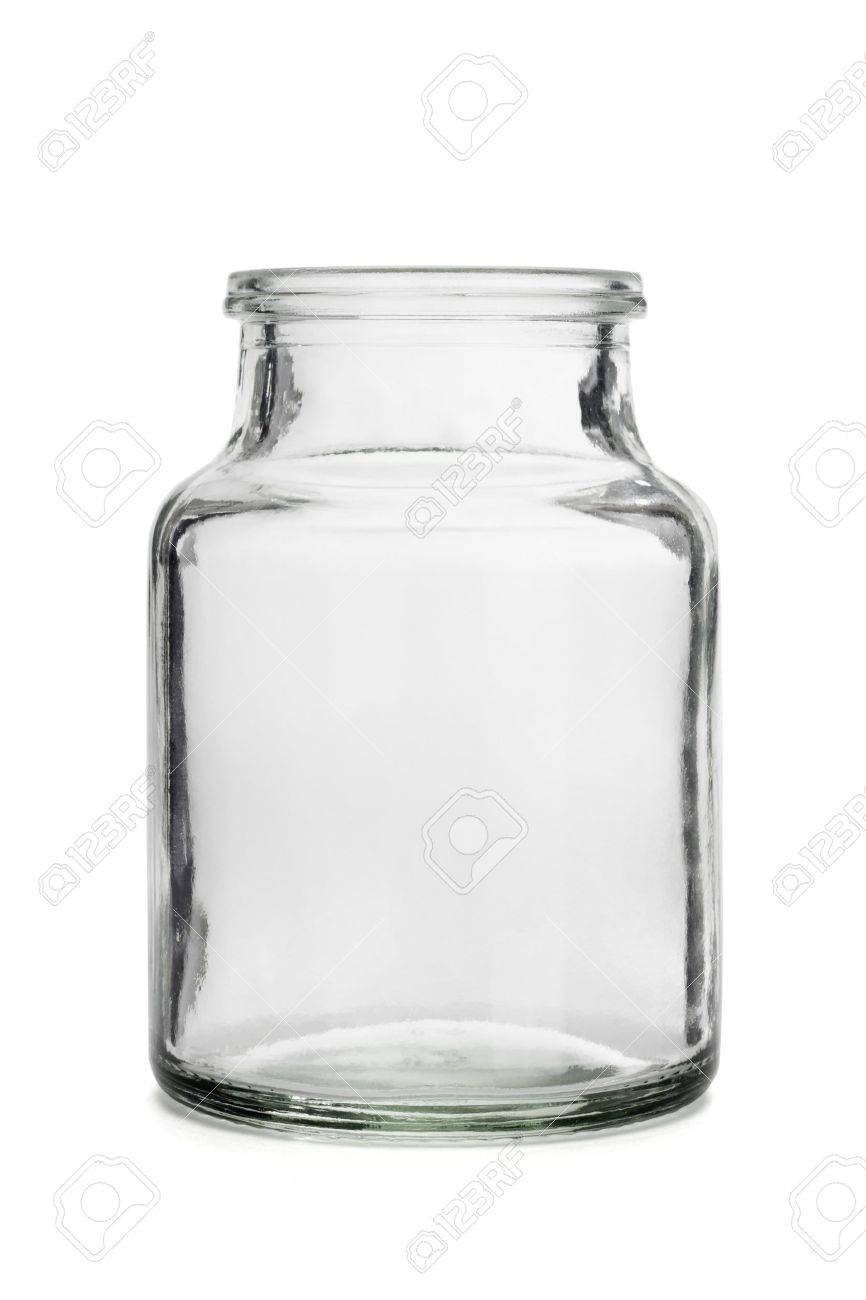 Open empty glass container on white background Stock Photo - 10641185