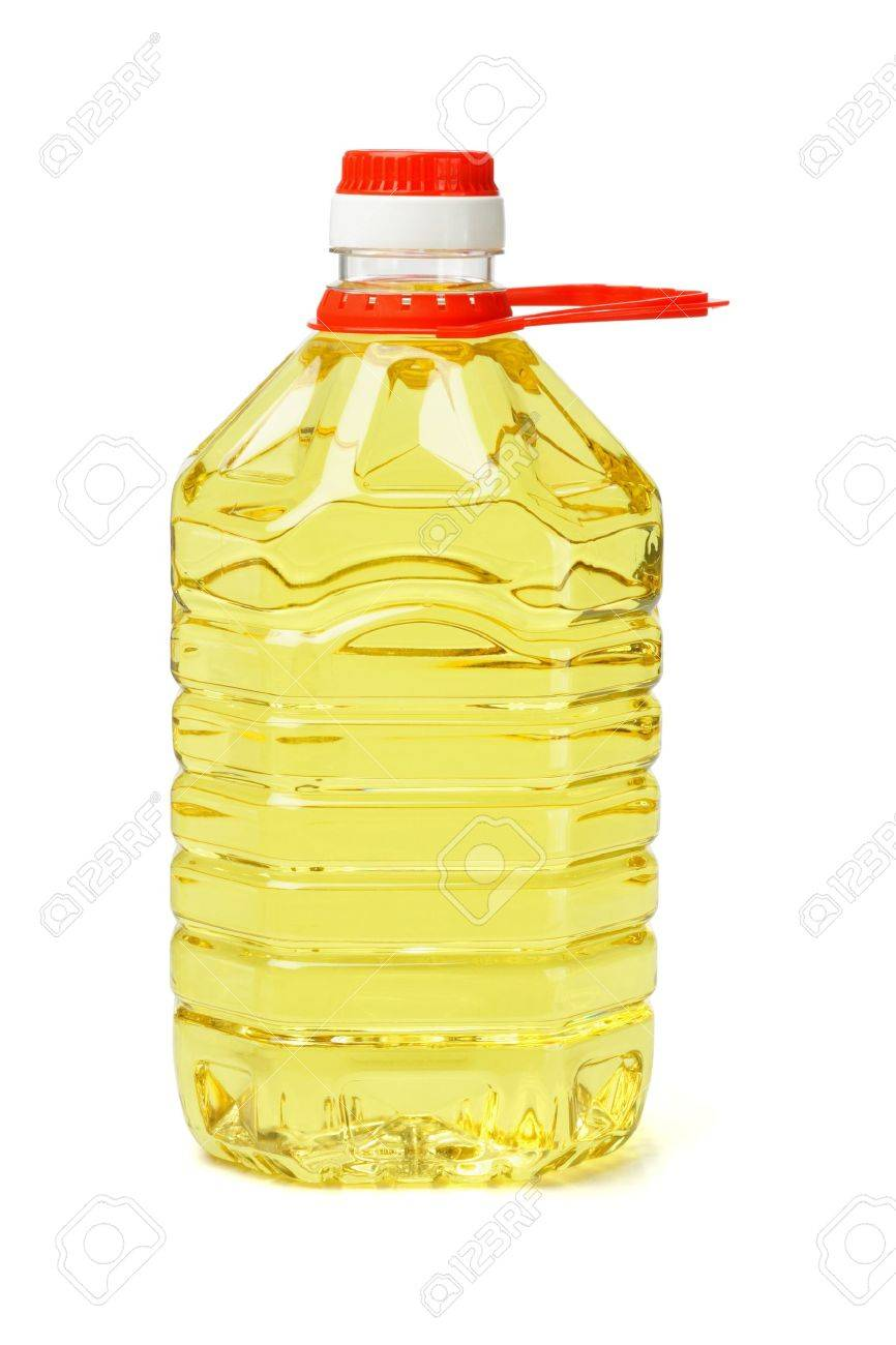 Plastic bottle of cooking oil with handle on white background - 10904029