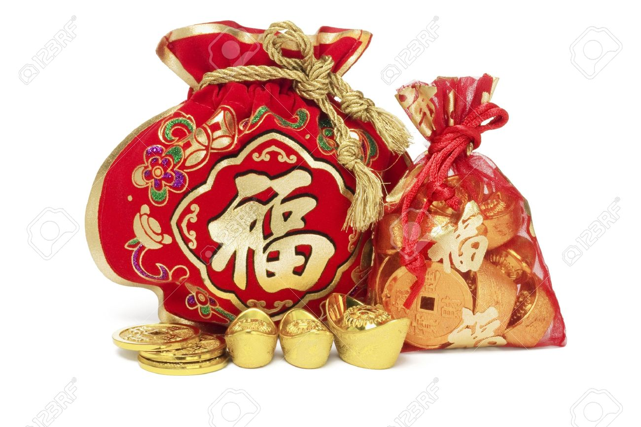 Two chinese new year gift bags and gold ingots on white background two chinese new year gift bags and gold ingots on white background 14094286 negle Image collections