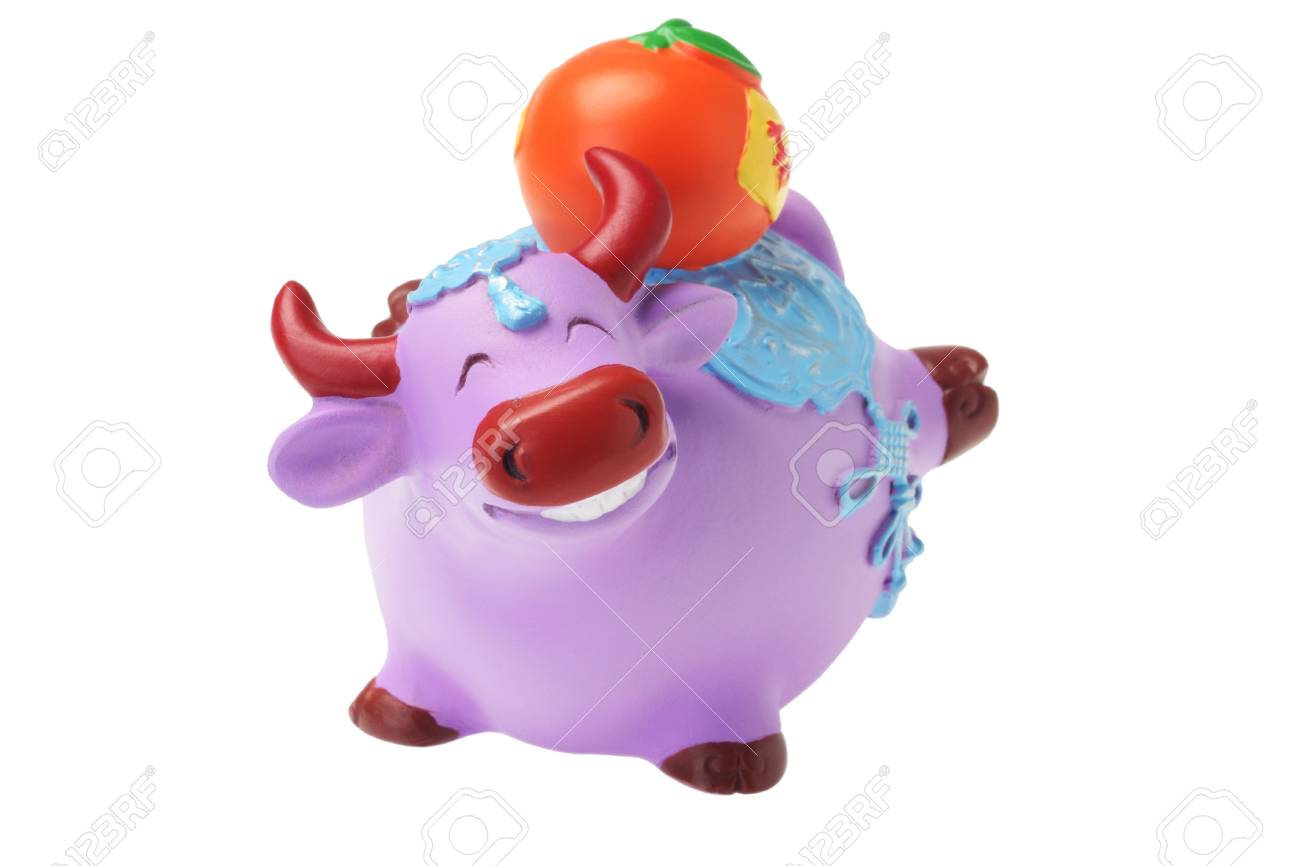 Ox Figurine Chinese New Year Ornament on White Background - Stock Photo - 15142345