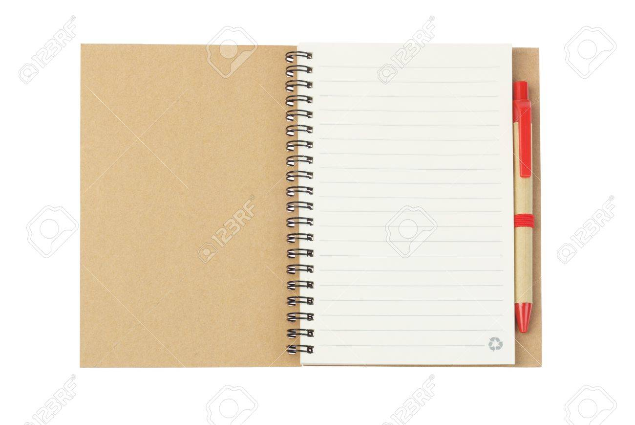 Notebook and Ballpoint Pen Made from Recycled Paper on White Background - 15685234