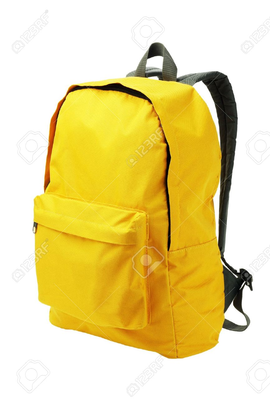 Yellow Backpack Standing on White Background - 15914536