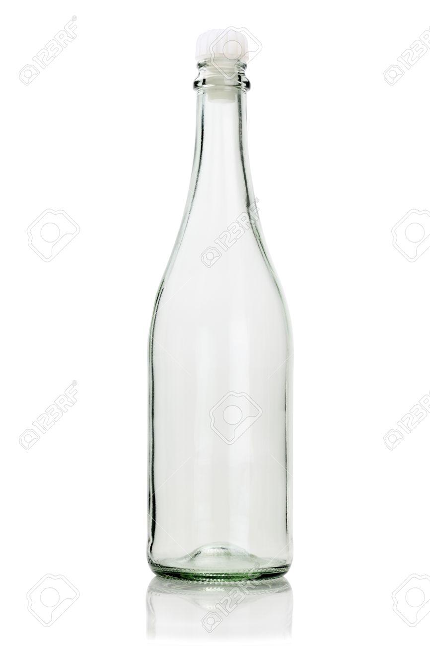 Lovely Bouteille En Verre Vide #13: Bouteille En Verre Vide Avec Bouchon En Plastique Sur Fond Blanc Banque  Du0027images -
