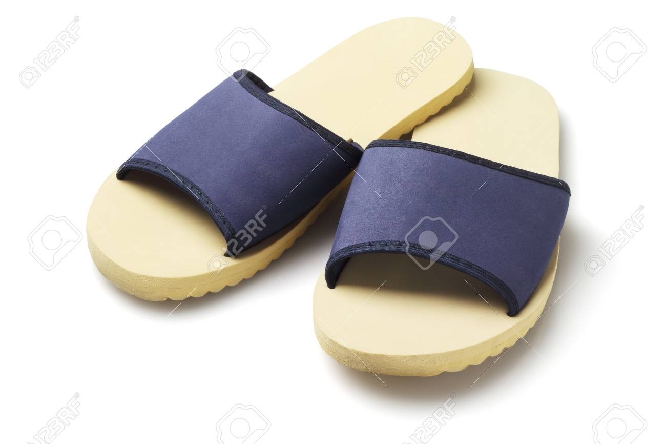 7df11ca9564 Pair of Household slippers on White Background Stock Photo - 41010221