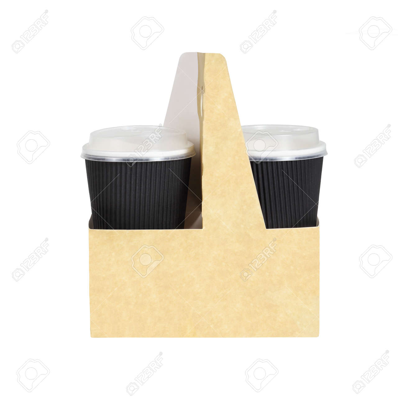 Takeway Drinks in a Holder with Handle on White Background - 144795846