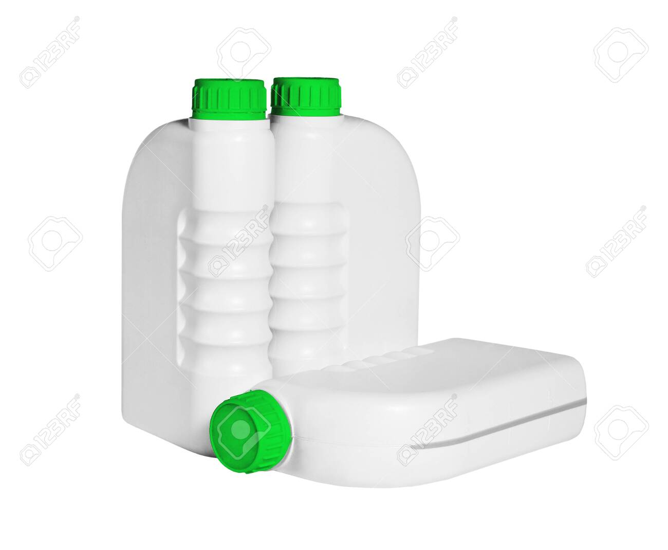 Plastic Containers for Engine Lubricants on White Background - 144795849