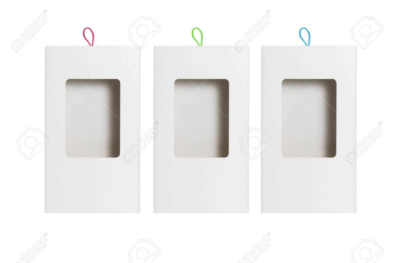 Paper Box with Plastic Transparent Window on White Background - 148271297