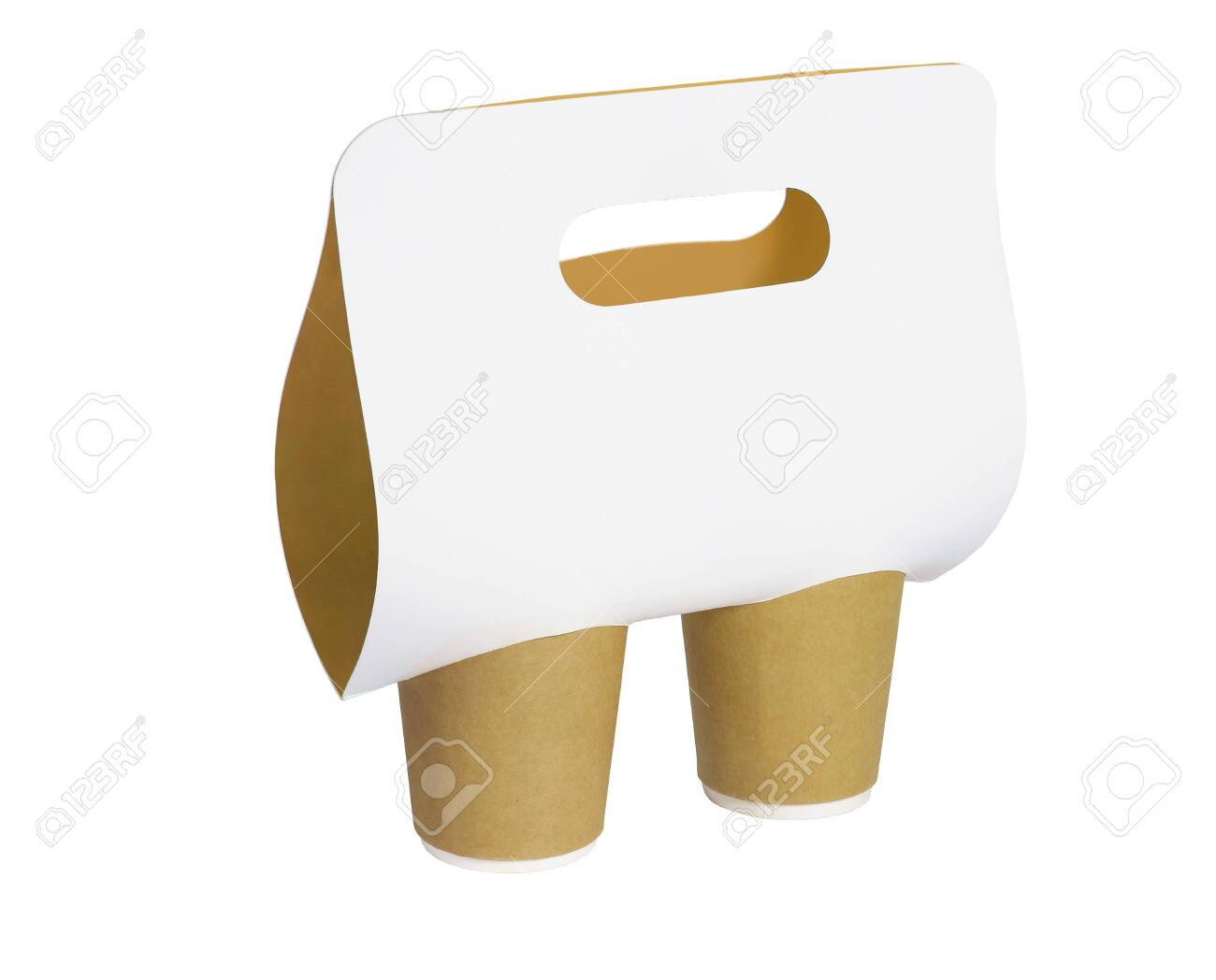Paper Cups and Holder With Handle on White Background - 149591792