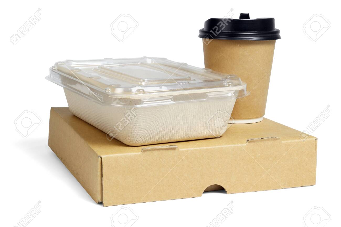 Coffee Cup and Food Boxes on White Background - 149591793