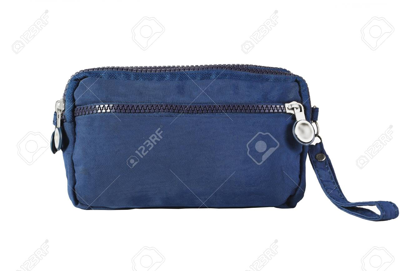 Blue Hand Bag with Handle on White Background - 149572636