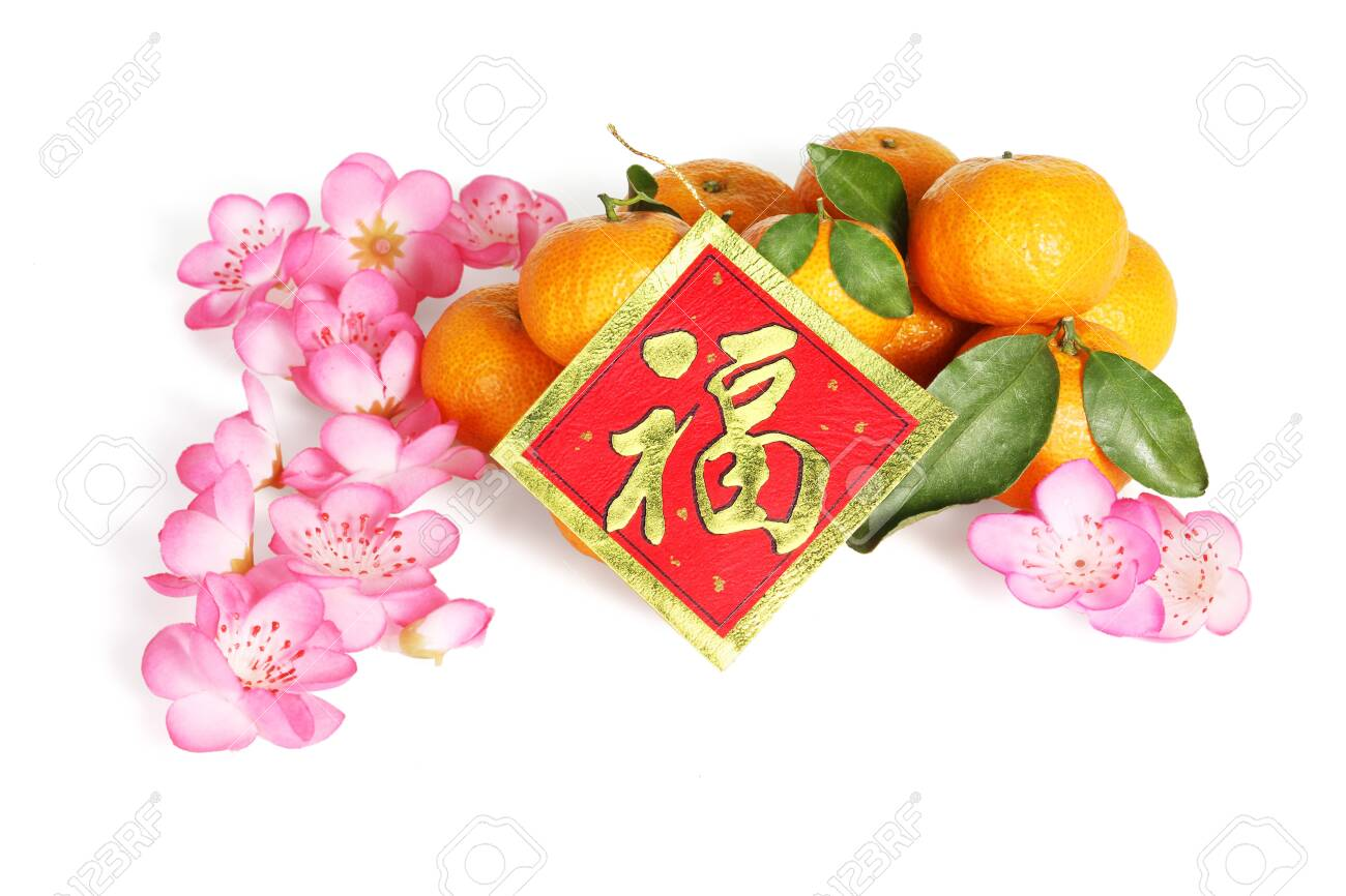 """Mandarin oranges With Plum Blossoms and Good Fortune Greeting Card For Chinese New Year - Translation """"Good Fortune"""" - 149930643"""
