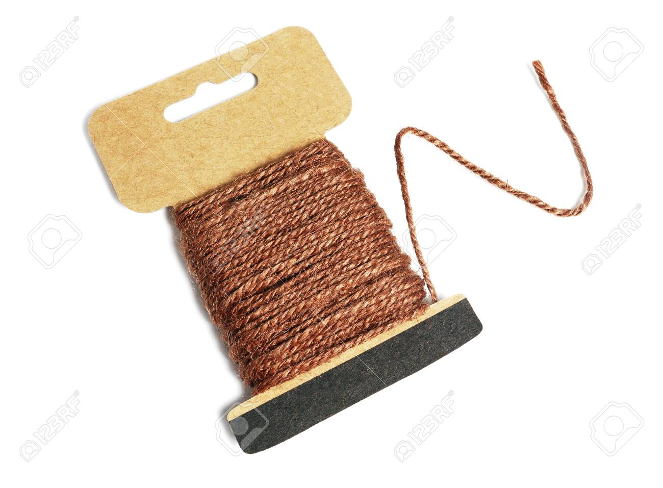 Hemp Rope Wound Up on Card With Loose End on white Background - 150777652