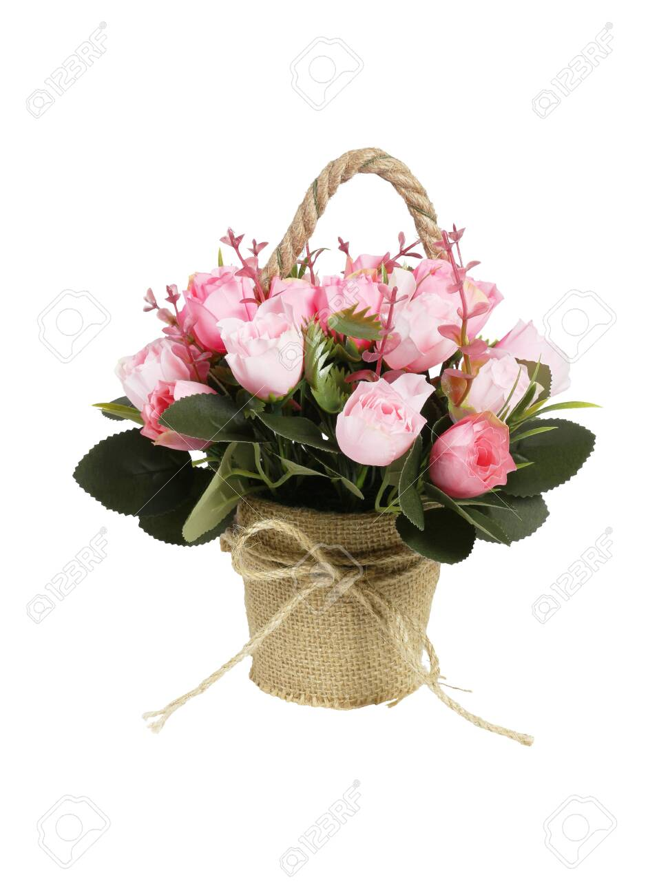 Decorative Potted Plastic Flowers on White Background - 150777679