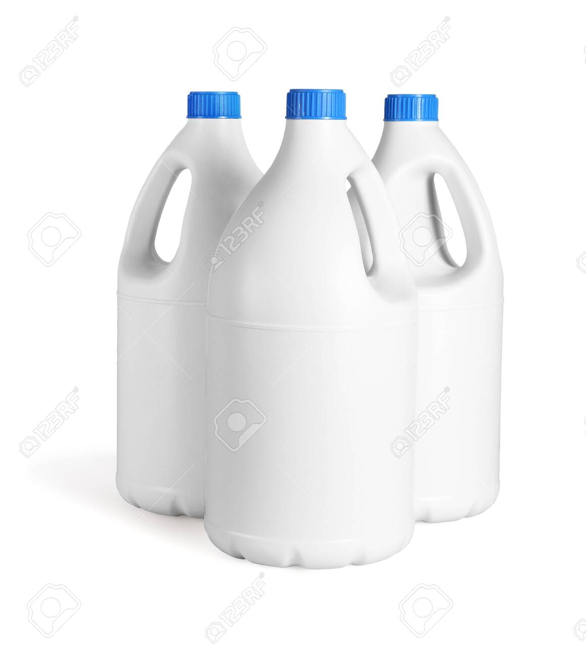 Three White Plastic Bottles of Detergent on White Background - 152349167