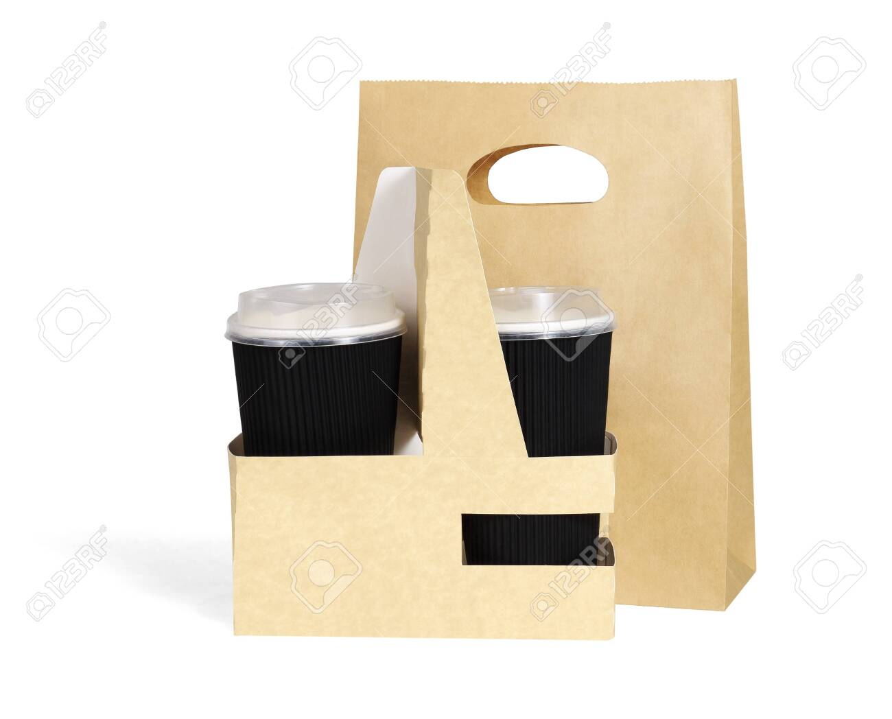 Takeaway Paper Cups and Bag on White Background - 152349302