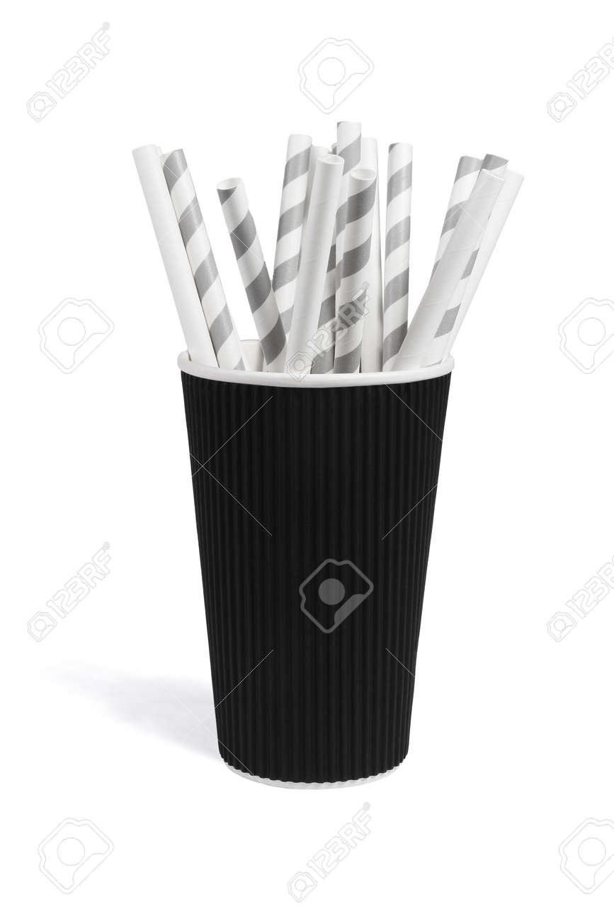 Paper Drinking Straws in Cup on White Background - 158023039