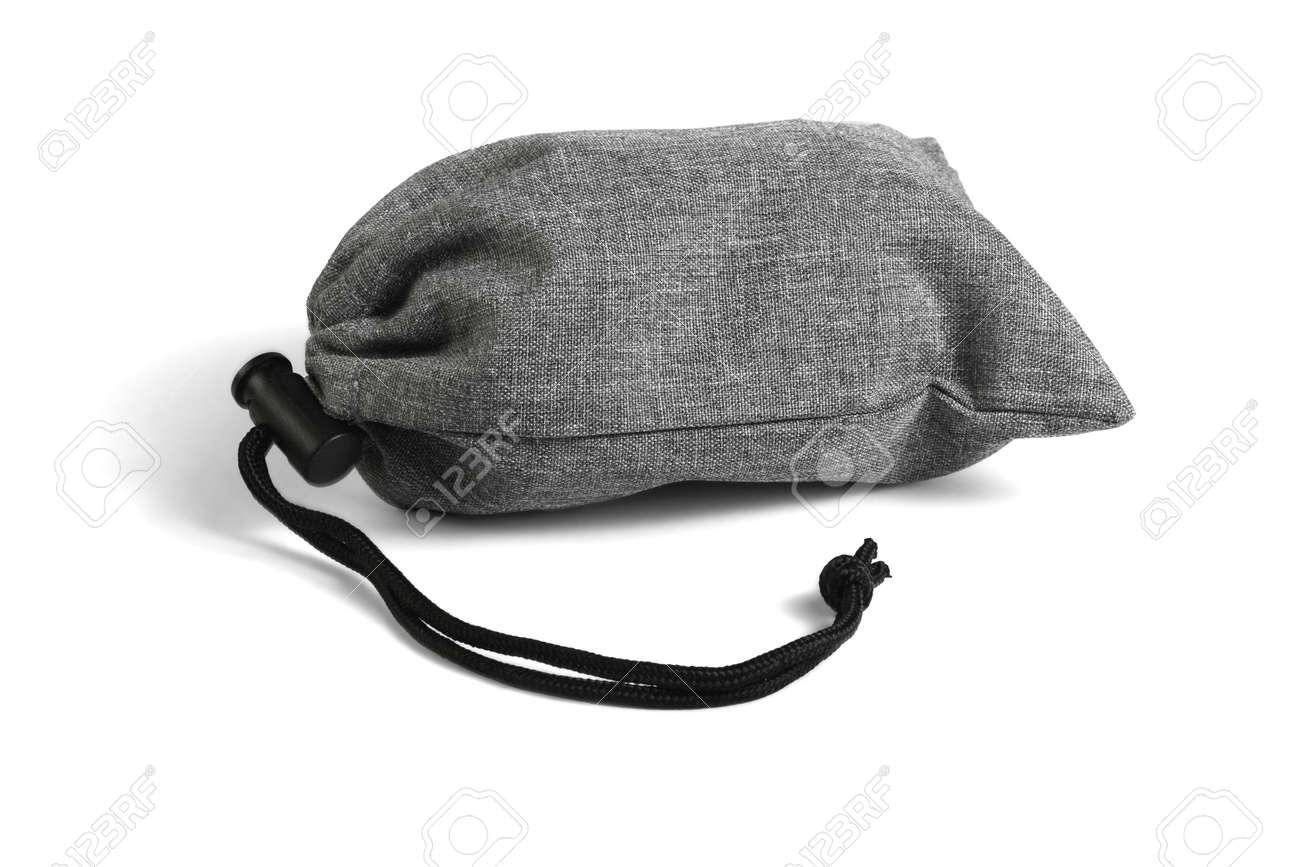 Gray Drawstring Bag Lying on White Background - 158023043