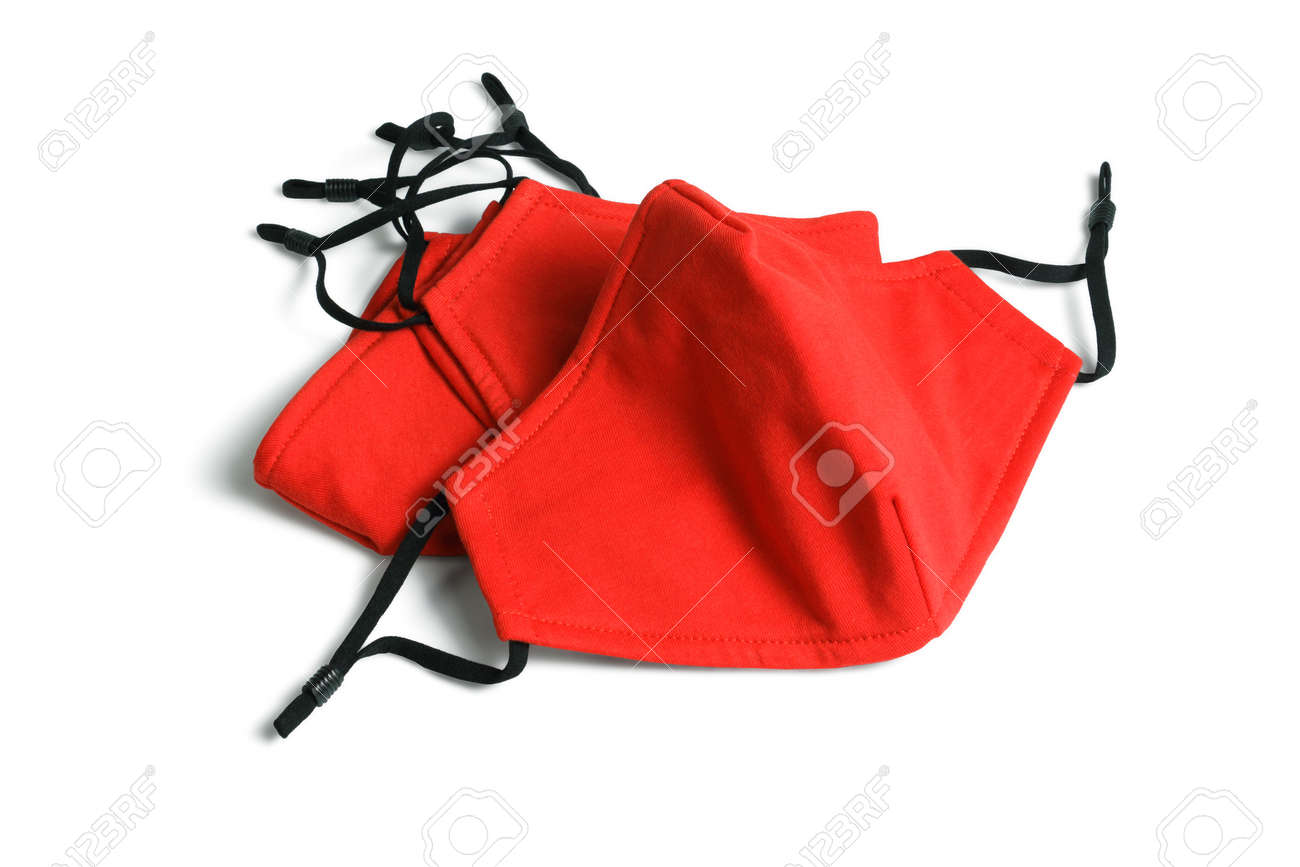 Red Fabric Face Masks on White Background - 160843923
