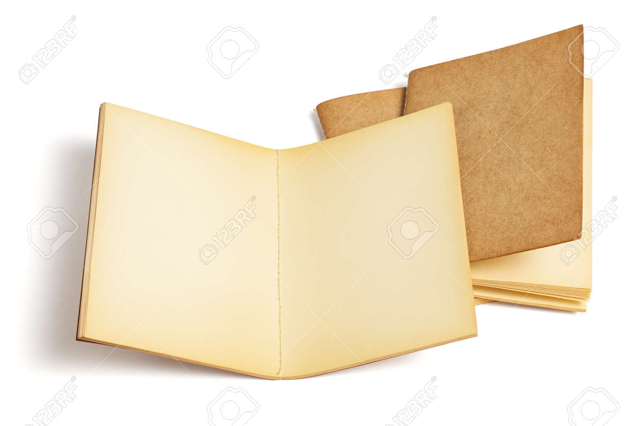 Three Old Blank Note Books on White background - 166815043
