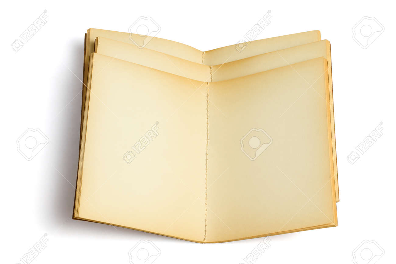 Three Old Open Note Books on White Background - 166815044