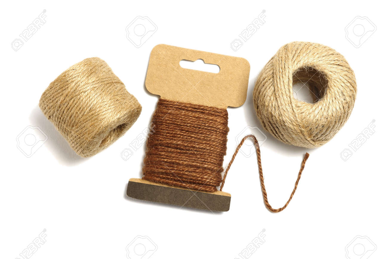 Rolls of Jute twine Rope on White Background - 171619690