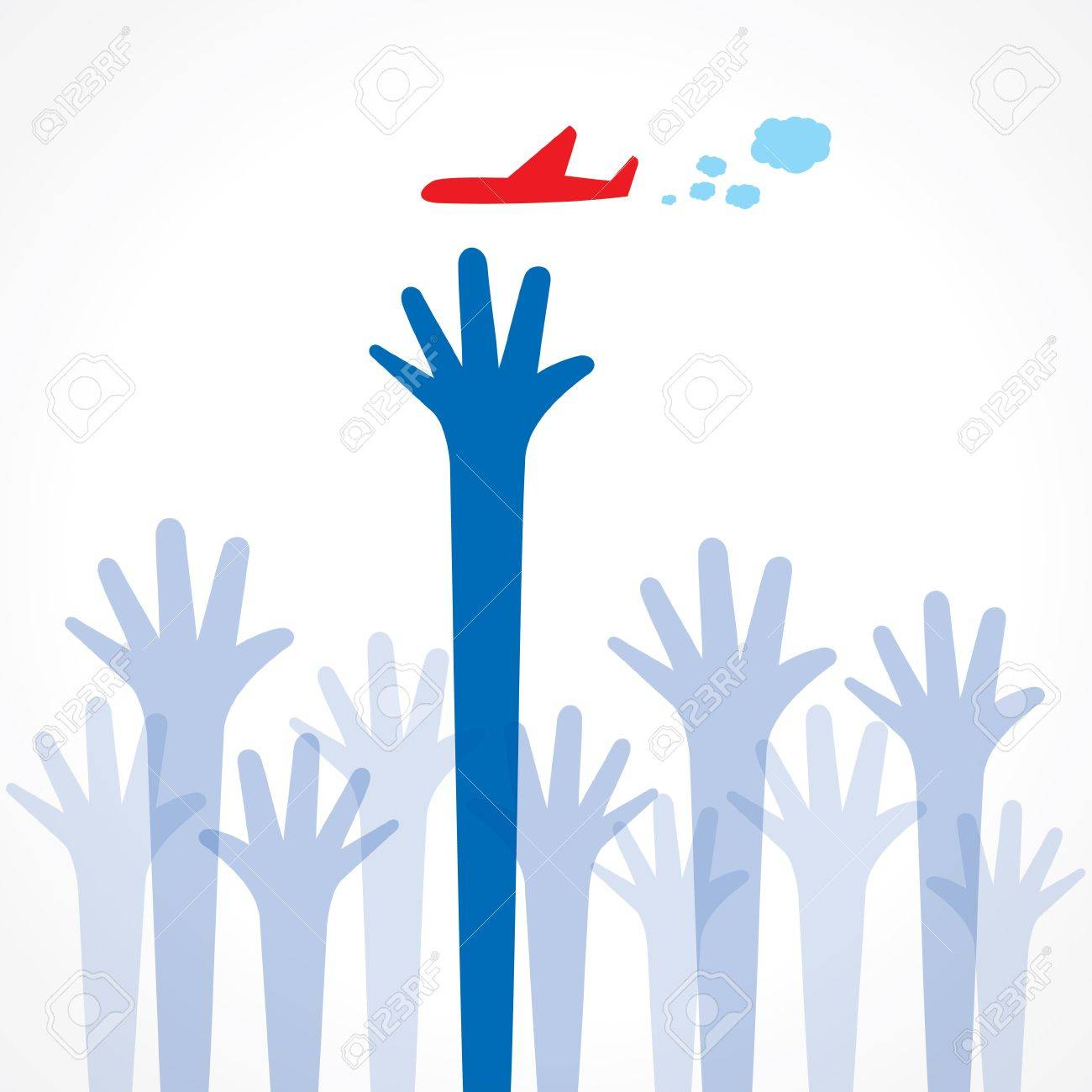 every hand try to catch the airplane Stock Vector - 16845616