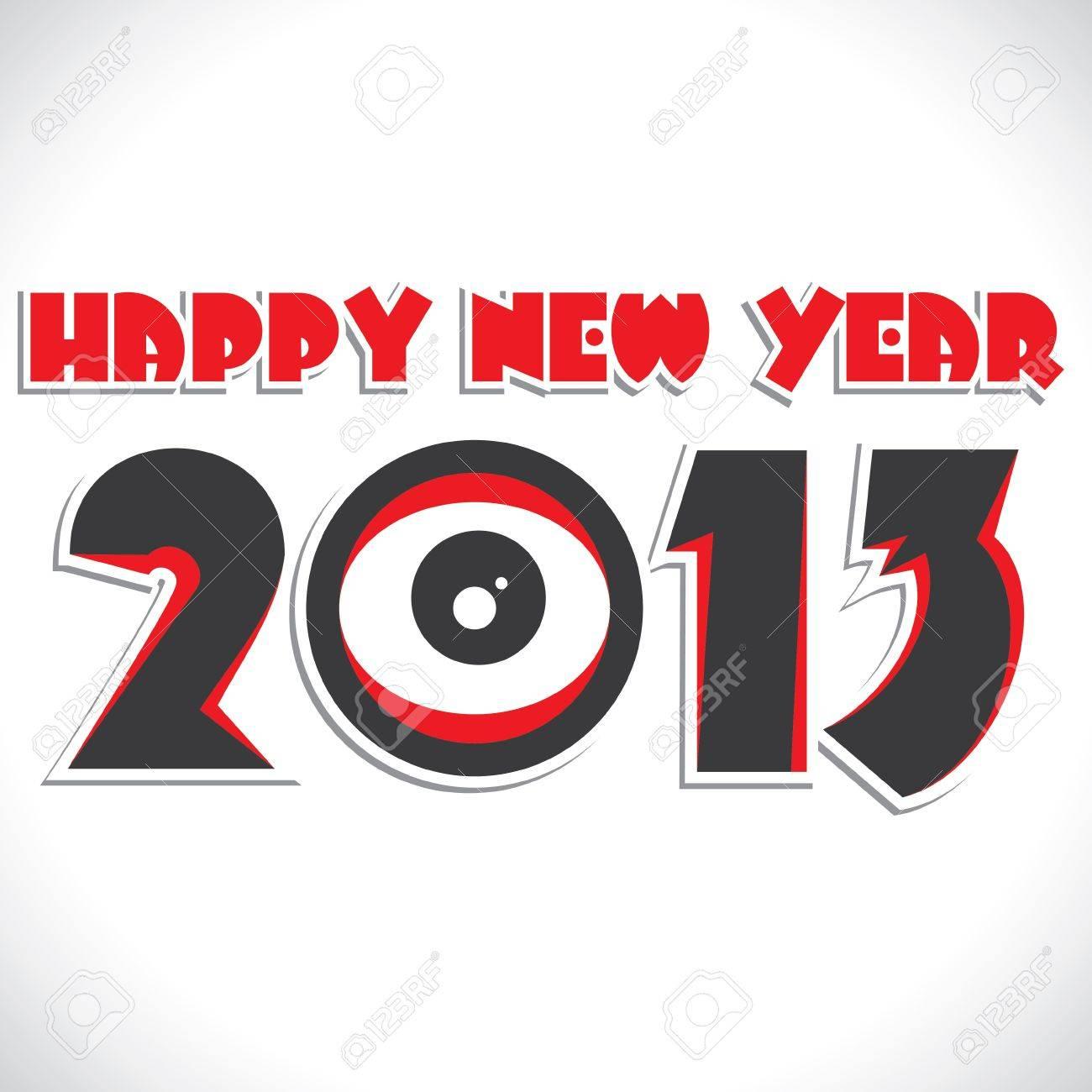 red happy new year 2013 stock vector Stock Vector - 16845717