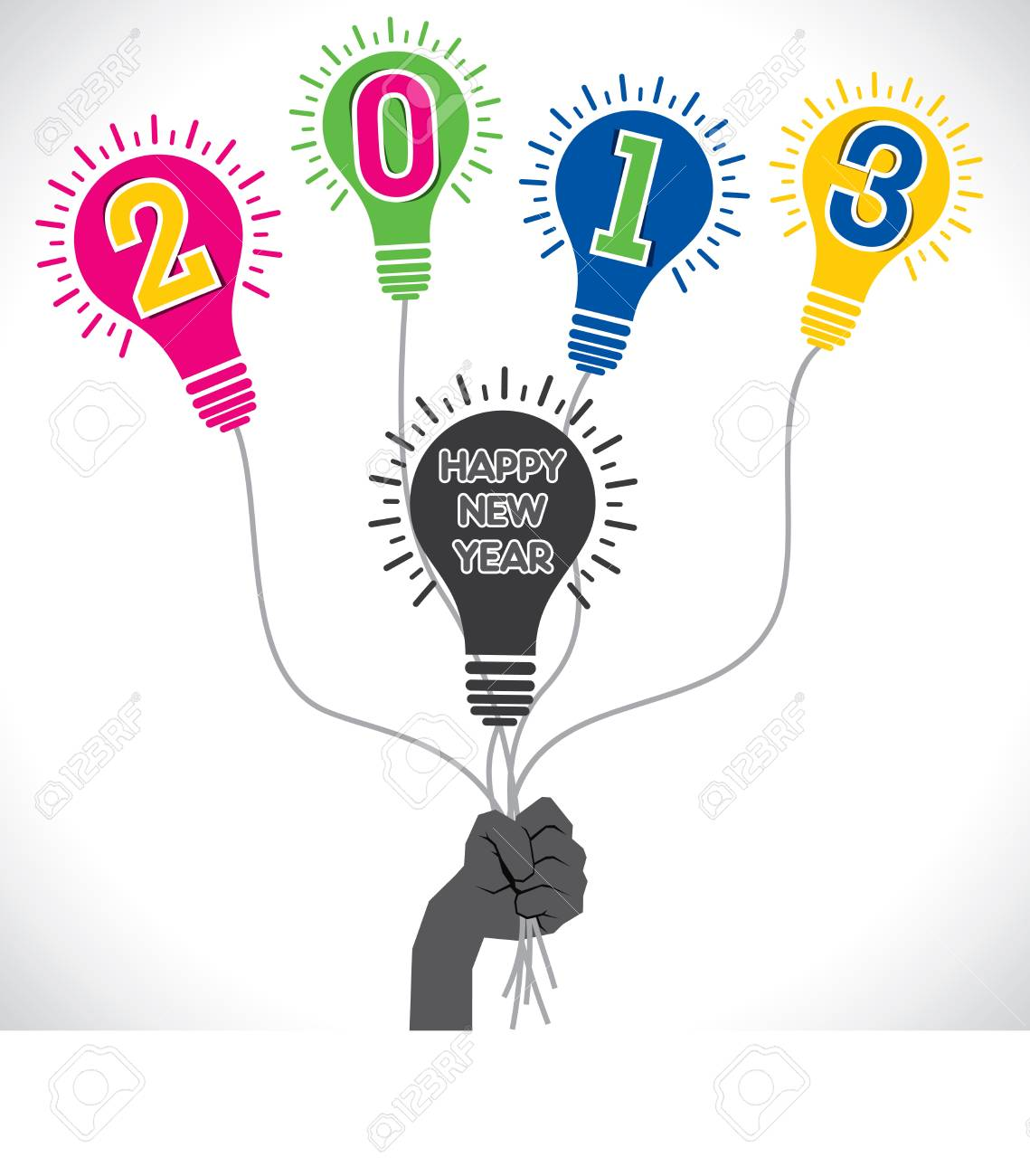 colorful happy new year 2013 stock vector Stock Vector - 16845739