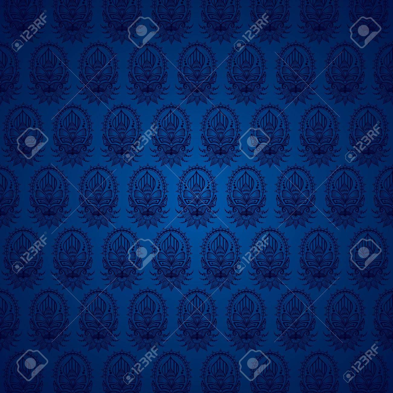 creative classic blue wedding invitation pattern stock vector Stock Vector - 16845880