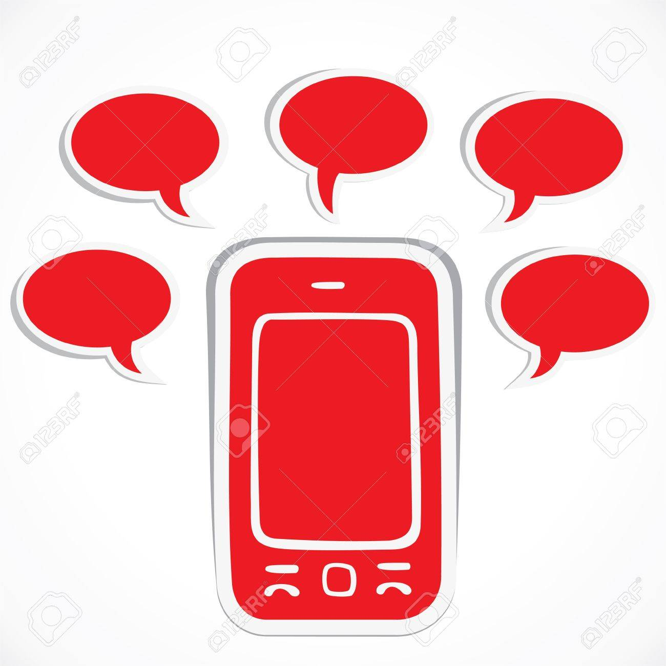 red mobile with message bubble stock vector Stock Vector - 16901728