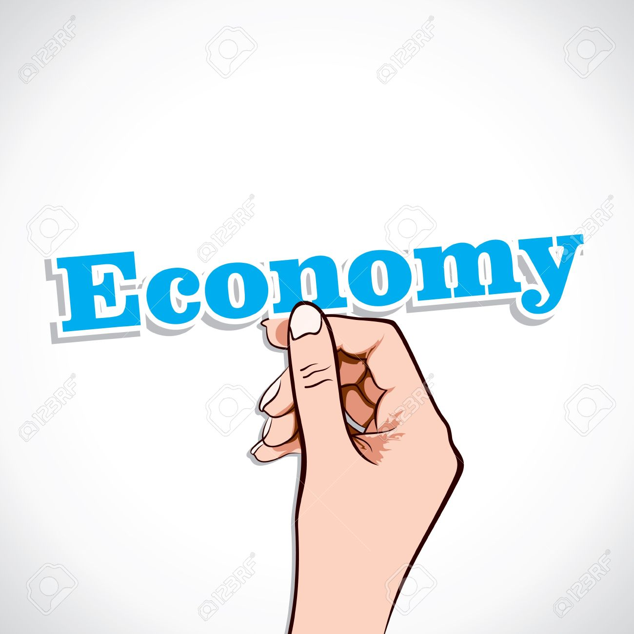 Economy Word In Hand Stock Vector Stock Vector - 17218960