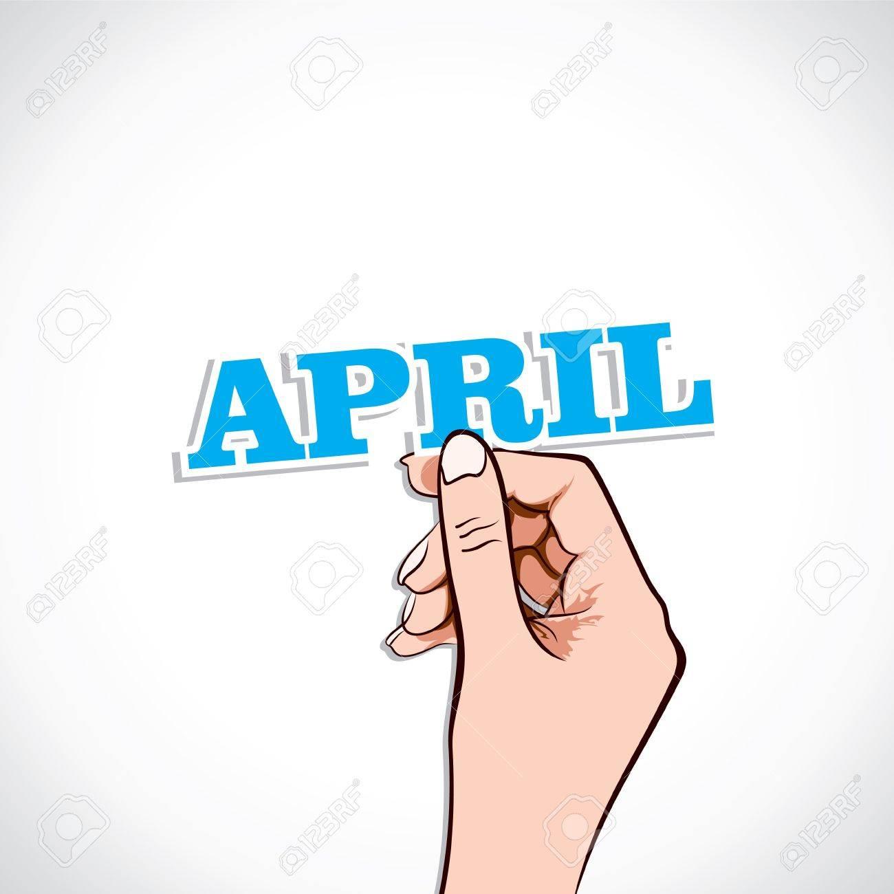 April Word In Hand Stock Vector Stock Vector - 17218918