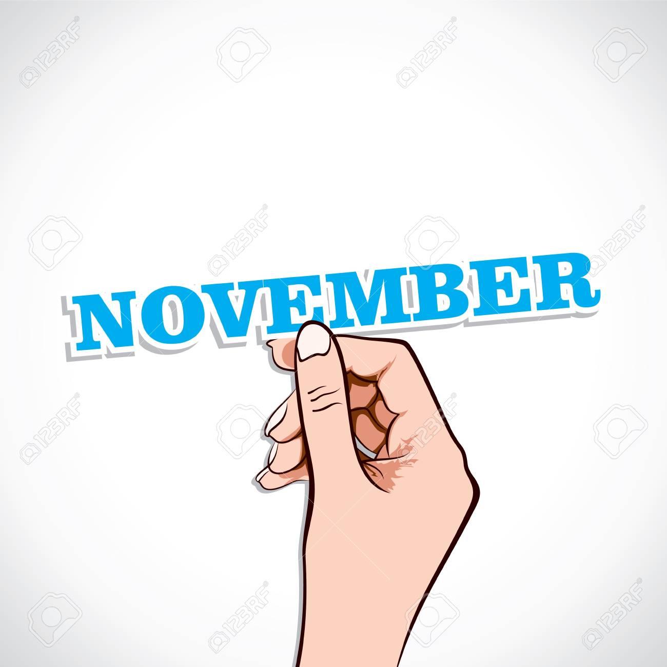 November Word In Hand Stock Vector Stock Vector - 17218951