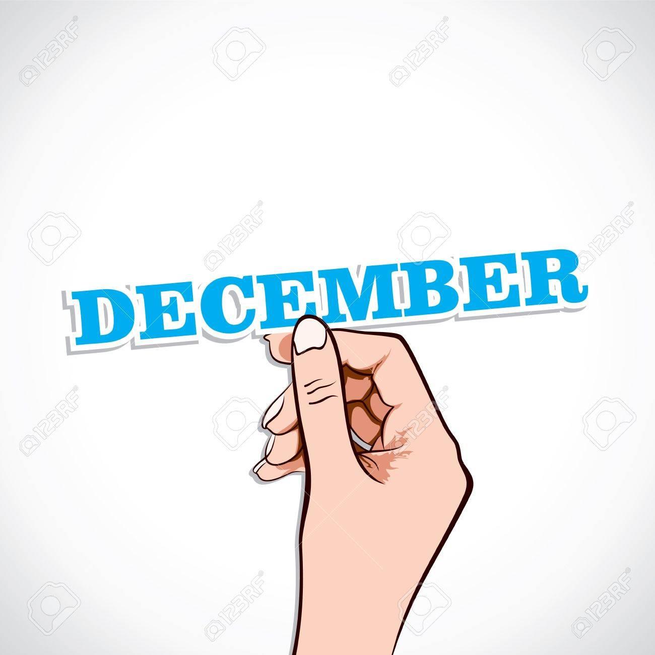December Word In Hand Stock Vector Stock Vector - 17218955