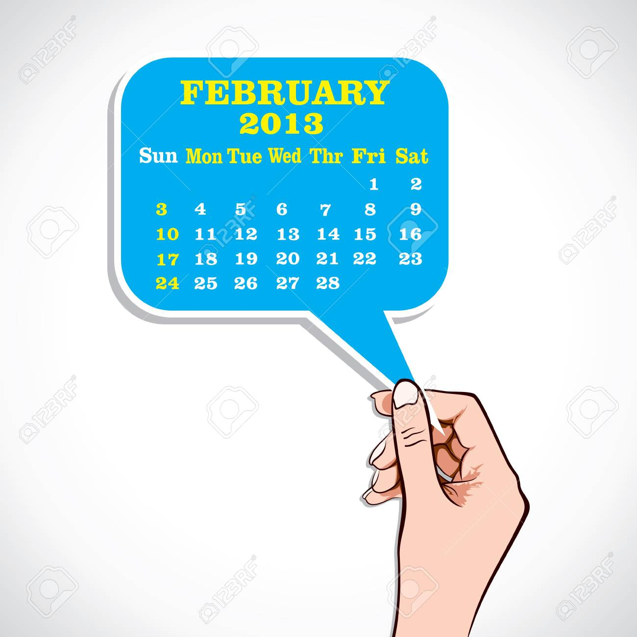 February 2013 Calender In Hand Stock Vector Stock Vector - 17219061