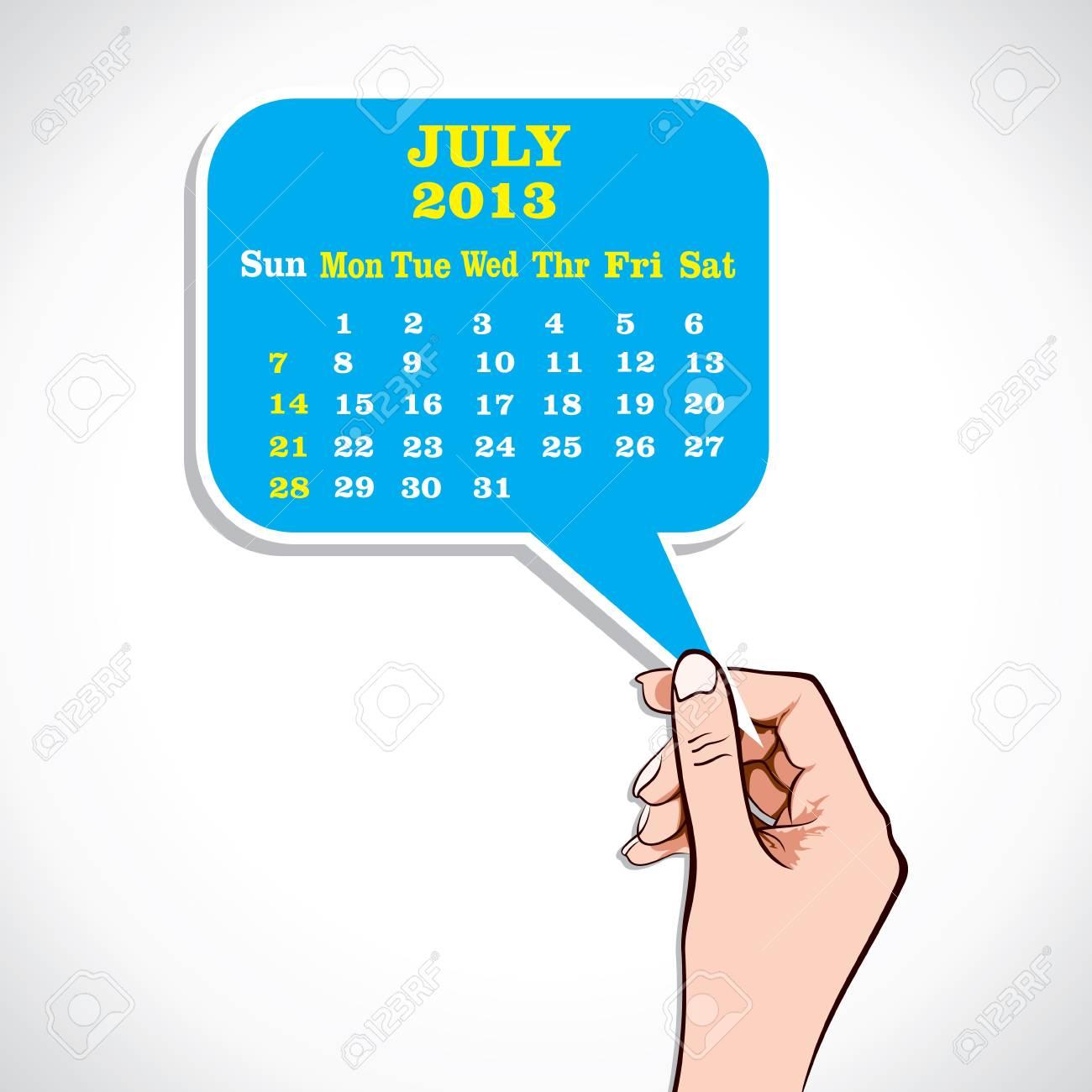 July 2013 Calender In Hand Stock Vector Stock Vector - 17218634