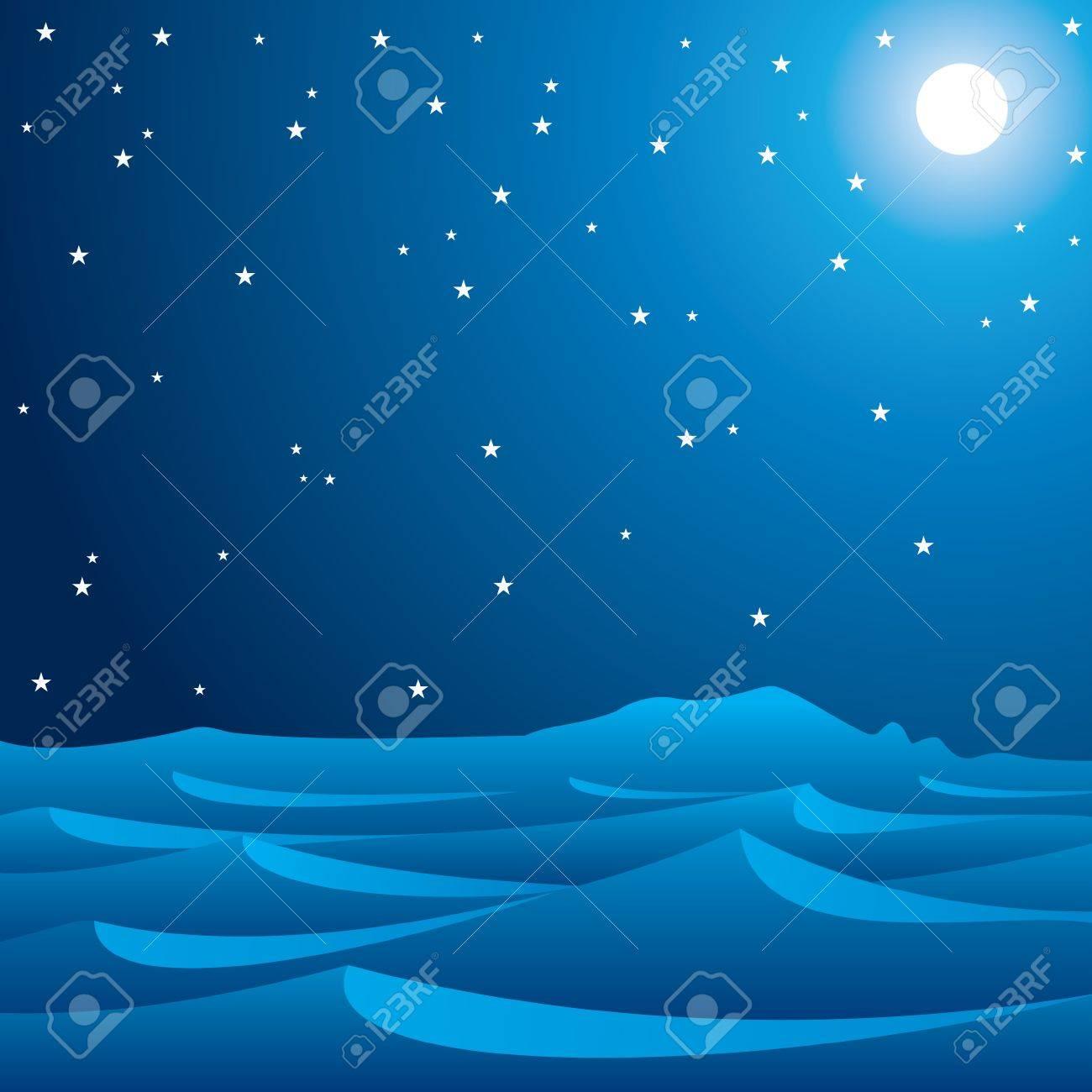 midnight scene of desert stock vector Stock Vector - 17203693