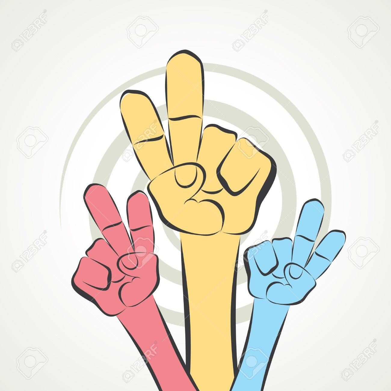 hand show victory sign stock vector Stock Vector - 17203656