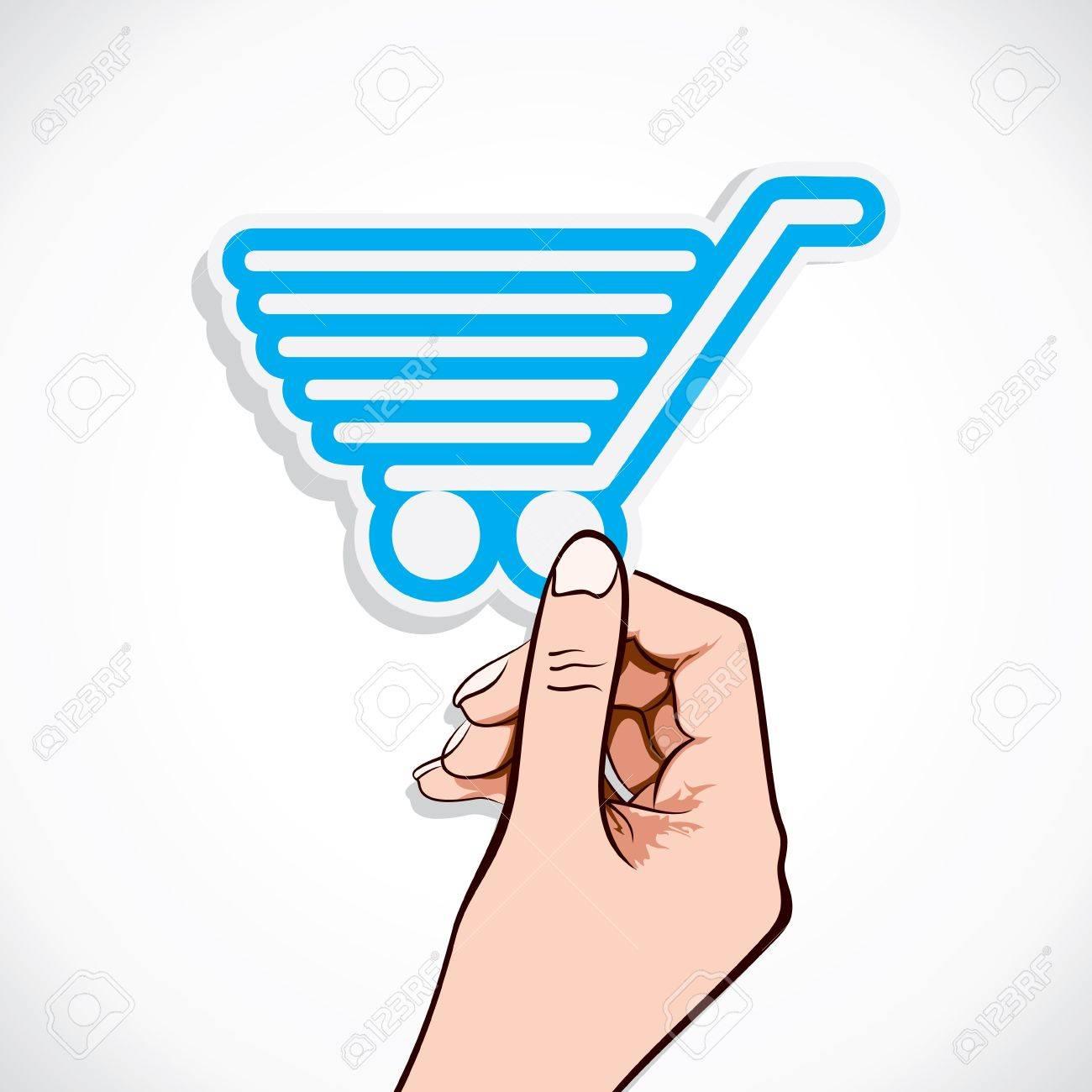 shopping cart sticker in hand stock Stock Vector - 17125706