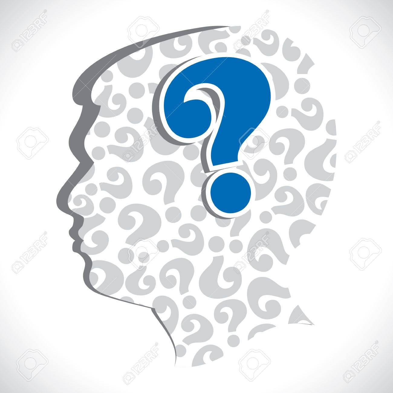 big question mark in head stock vector Stock Vector - 17763363